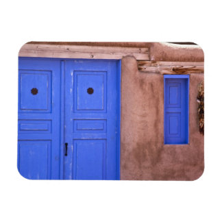 USA, New Mexico, Santa Fe. View of blue door and Rectangle Magnets