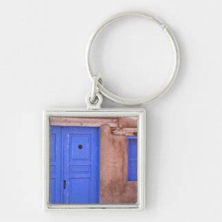 USA, New Mexico, Santa Fe. View of blue door and Silver-Colored Square Keychain