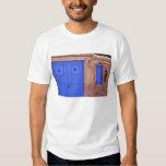 USA, New Mexico, Santa Fe. View of blue door and Tee Shirt