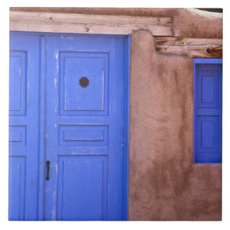 USA, New Mexico, Santa Fe. View of blue door and Tile
