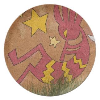 USA, New Mexico, Santa Fe. Wall mural of a Melamine Plate