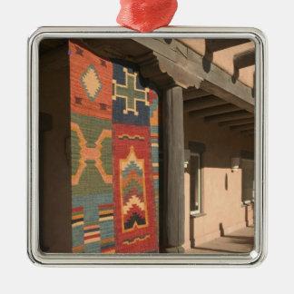 USA, New Mexico, Taos: Navaho Rug Gallery Kit Square Metal Christmas Ornament