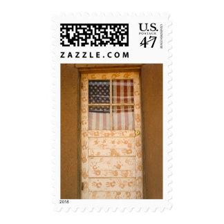 USA, New Mexico, Taos: Taos Indian Pueblo Postage Stamp