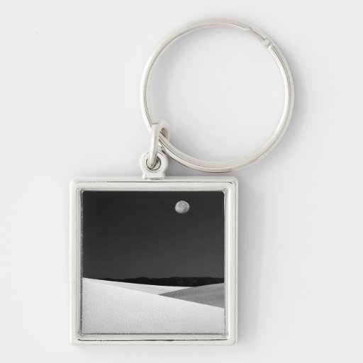 USA, New Mexico, White Sands National Monument. Silver-Colored Square Keychain