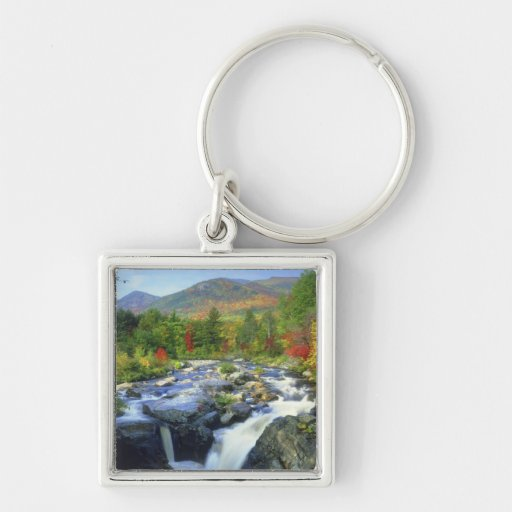 USA, New York. A waterfall in the Adirondack Silver-Colored Square Keychain
