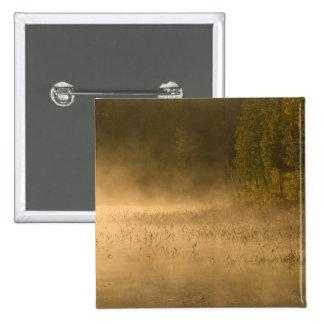 USA, New York, Adirondack Park. Sunrise mist on 2 Inch Square Button
