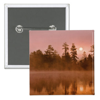 USA, New York, Adirondack Park. Sunrise on a 2 Inch Square Button