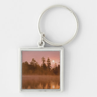 USA, New York, Adirondack Park. Sunrise on a Silver-Colored Square Keychain
