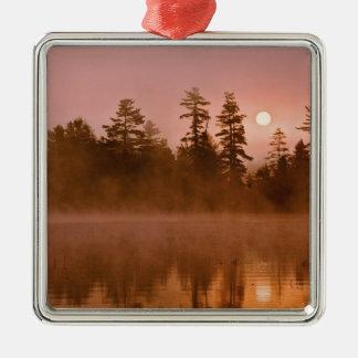 USA, New York, Adirondack Park. Sunrise on a Metal Ornament