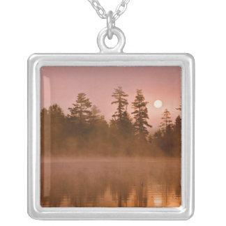 USA, New York, Adirondack Park. Sunrise on a Square Pendant Necklace
