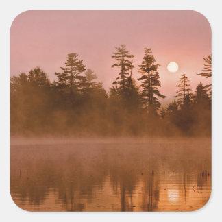 USA, New York, Adirondack Park. Sunrise on a Square Sticker