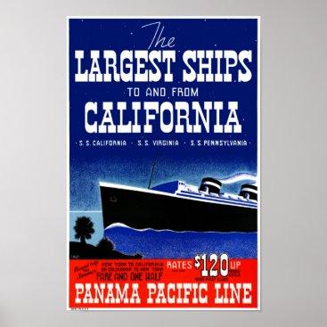 USA Themed USA New York California Restored Vintage Poster