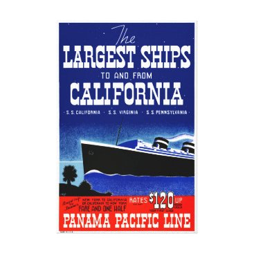 USA Themed USA New York California Restored Vintage Poster Canvas Print