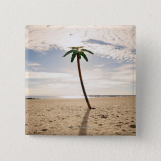USA, New York City, Coney Island, palm tree on Pinback Button
