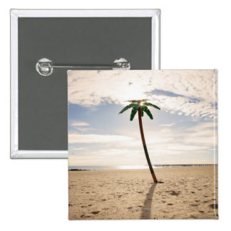 USA, New York City, Coney Island, palm tree on Pinback Button