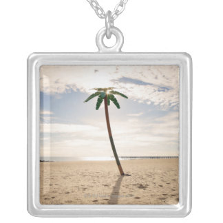 USA, New York City, Coney Island, palm tree on Silver Plated Necklace