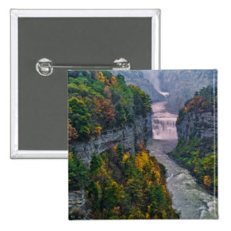 USA, New York, Letchworth State Park. River and 2 Inch Square Button