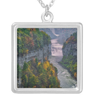 USA, New York, Letchworth State Park. River and Square Pendant Necklace