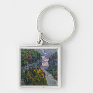 USA, New York, Letchworth State Park. River and Silver-Colored Square Keychain