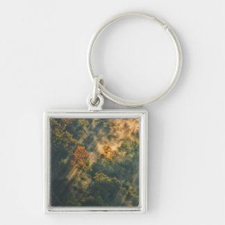 USA, New York, Letchworth State Park. Sunrise Silver-Colored Square Keychain