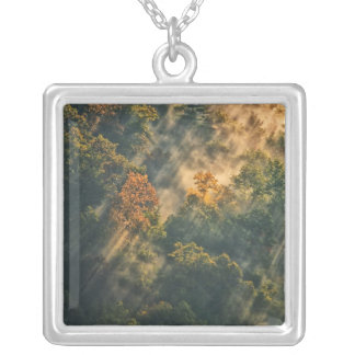 USA, New York, Letchworth State Park. Sunrise Square Pendant Necklace