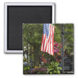 USA, New York, Lewiston. American flag attached 2 Inch Square Magnet