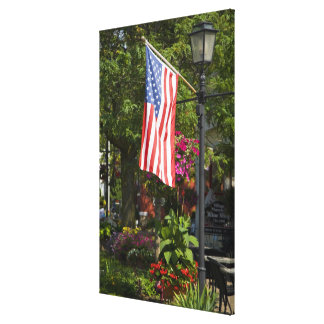 USA, New York, Lewiston. American flag attached Canvas Print