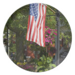 USA, New York, Lewiston. American flag attached Melamine Plate