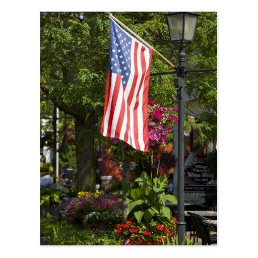 USA, New York, Lewiston. American flag attached Postcard