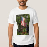 USA, New York, Lewiston. American flag attached T-shirt