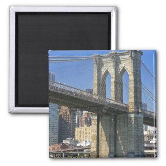 USA, New York, New York City. Brooklyn Bridge 2 Inch Square Magnet