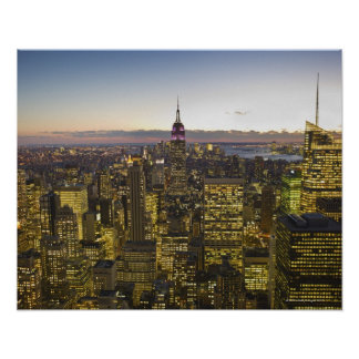 USA, New York, New York City, Cityscape at dusk 2 Poster