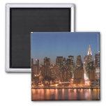 USA, New York, New York City, Manhattan: Aerial 2 Inch Square Magnet