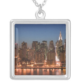 USA, New York, New York City, Manhattan: Aerial Silver Plated Necklace