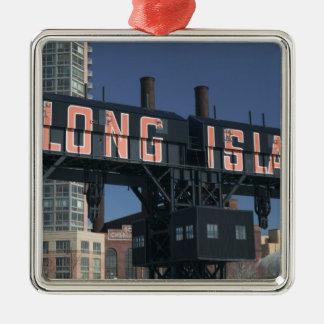 USA, New York, New York City, Queens: Long Square Metal Christmas Ornament