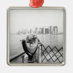 USA, NEW YORK: New York City Scenic Viewer Square Metal Christmas Ornament