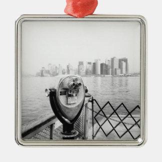 USA, NEW YORK: New York City Scenic Viewer Square Metal Christmas Ornament