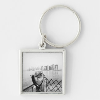 USA, NEW YORK: New York City Scenic Viewer Silver-Colored Square Keychain