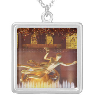 USA, New York, New York City, Statue of Silver Plated Necklace