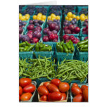 USA, New York State, New York, Vegetables and Greeting Cards