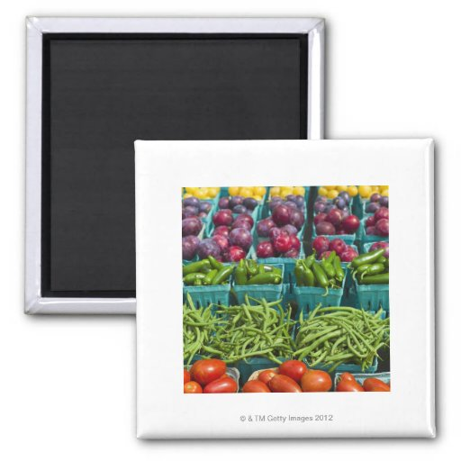 USA, New York State, New York, Vegetables and Refrigerator Magnets
