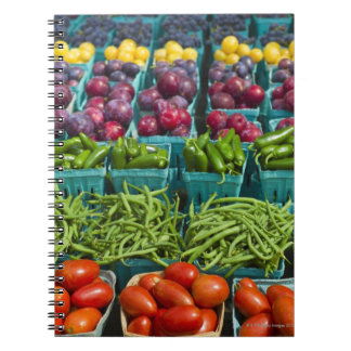 USA, New York State, New York, Vegetables and Notebooks