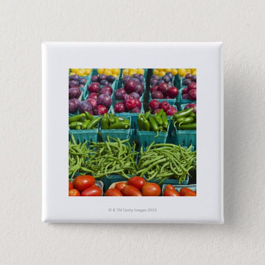 USA, New York State, New York, Vegetables and Pinback Button