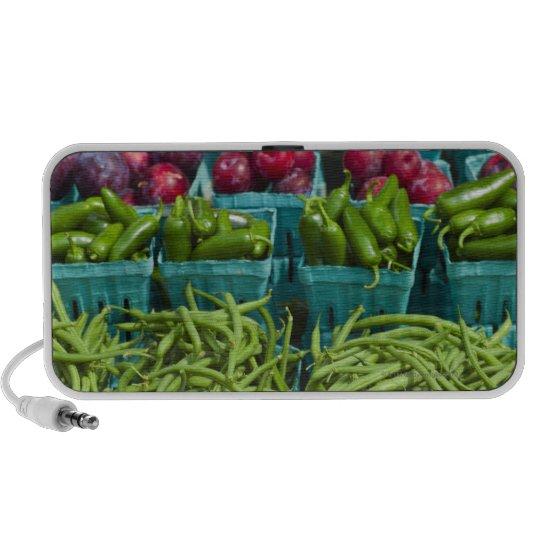 USA, New York State, New York, Vegetables and Portable Speaker