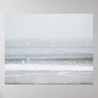 USA, New York State, Rockaway Beach, snow storm 2 Poster