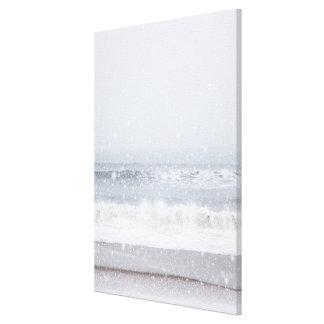 USA, New York State, Rockaway Beach, snow storm Canvas Print