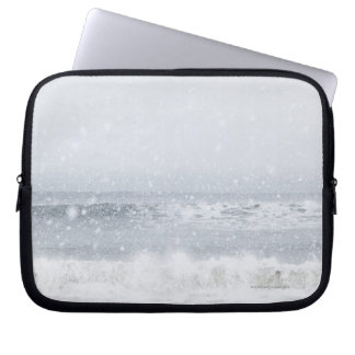 USA, New York State, Rockaway Beach, snow storm Computer Sleeve