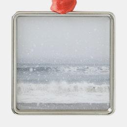 USA, New York State, Rockaway Beach, snow storm Metal Ornament