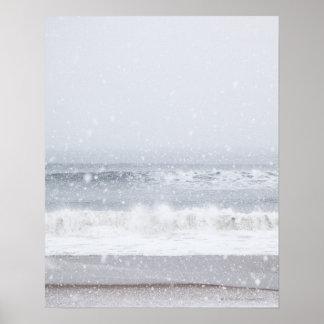 USA, New York State, Rockaway Beach, snow storm Poster