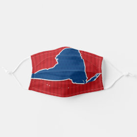 USA New York State Stars and Stripes Map Cloth Face Mask